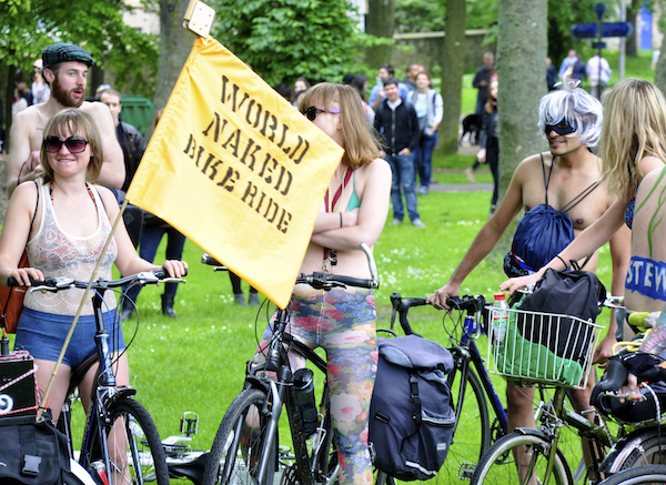 Hundreds of cyclists strip off for annual World Naked Bike