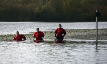 Police Divers at Duddingston Loch today. (Picture: Alan Simpson)