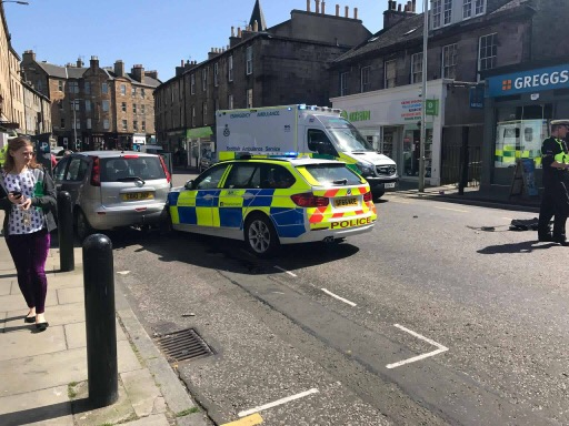 Raeburn Place closed due to collision involving police vehicle