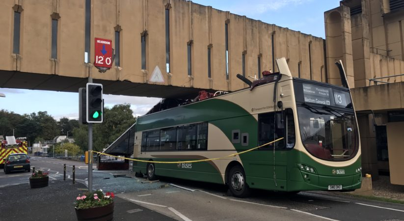 Eight people injured following bus collision with bridge