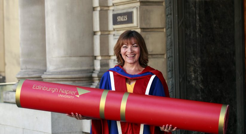 TV favourite Lorraine Kelly receives honorary degree from Edinburgh Napier University.