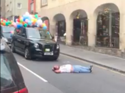 Private Hire driver protests during annual taxi outing after being sprayed with water