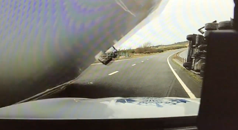 Police release dash cam footage after police car crushed by lorry on A1